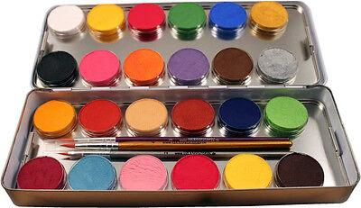 Eulenspiegel Profi Aqua Make up Metall Farb Palette 24 x 3,5 ml Kinderschminke