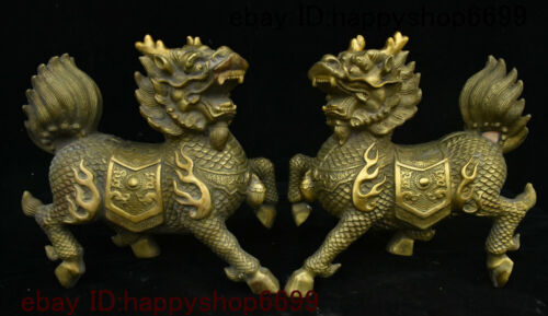 Chinese Copper Brass Feng shui Animal Kylin Chi-lin Qilin God Beast Statue Pair
