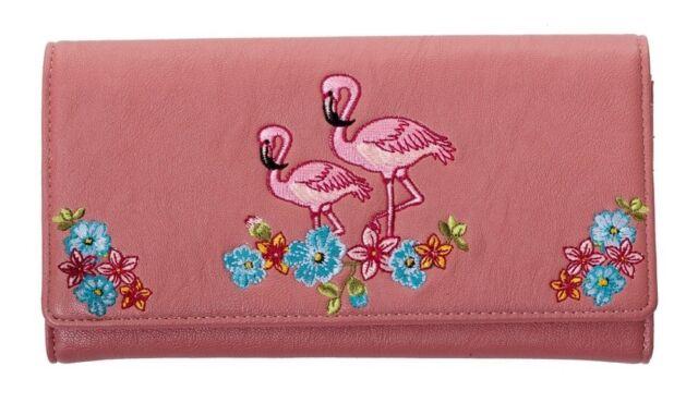 Elegant Floral Flamingo Wallet by Banned Purse Rockabilly 50s Retro Dusty PINK
