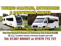 CARAVANS & MOTORHOMES WANTED ANY MAKE MODEL OR YEAR TOP CASH PAID