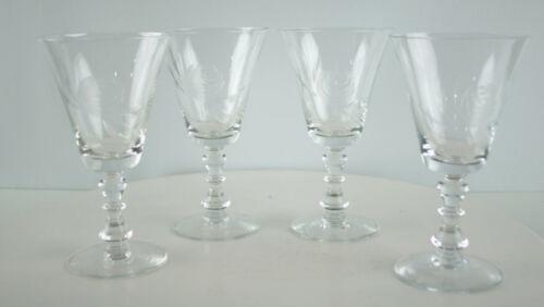 """Vintage Fostoria Crystal Etched """"Rose"""" Pattern Set 4 Water Goblets Wine Glasses"""
