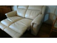 White Leather Reclining Sofa 1 year old with
