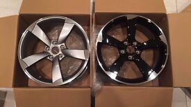 """NEW 18"""" inch Audi Rotor Alloy Wheels Black Edition A3 A4 A5 A6 RS3 RS4 RS5 RS6 S5 S6 S3 S4 WOWZA"""
