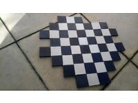 50 x Reclaimed Black and White Victorian Floor Tiles