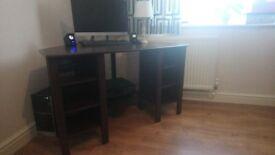 CORNER Computer desk, dark brawn like new
