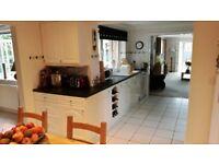 Four Seasons Kitchen Cabinets - semi gloss white. Base, wall and tall larder cupboard etc