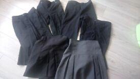 Girls school trousers including Debenhams unworn and school skirt bundle age 8 - 9