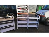 2 BLUE PAINTED AND WAXED SHELVES 90CM X 90CM GOOD CONDITION