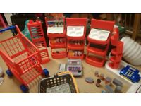Toy Grocery Shop items including shopping trolley and basket