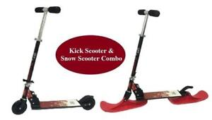 Kick Scooter & Snow Kick Scooter Combo for Kids (with 2 Wheels & 2 RED Skis) - Pick up in Whitby Available