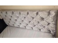 Silver crushed velvet headboard diamanté for double bed, brand new wrapped up