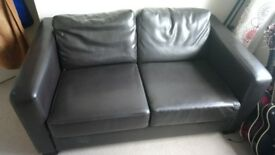 Free very dark brown leatherette two seater