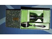 VINTAGE EGG CUP AND SPOON FALKIRK BOXED