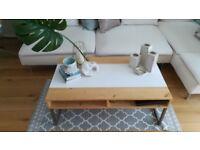 Handmade Modern Solid Wood & White Metal Legs Coffee Table