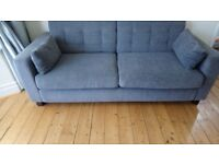Grey settees x 2, each can seat up to 3 people - good general condition