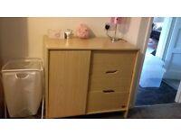 Matchin light oak baby wardrobe and drawers