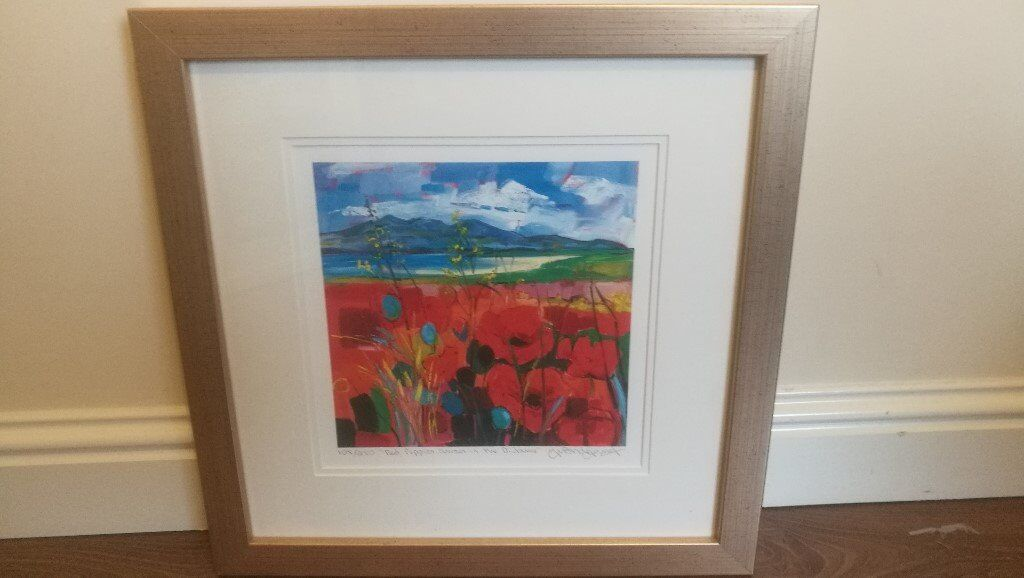 Beautful framed floral print with scottish islands - limited edition 105/250 signed by artist