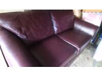 2 SEATER BROWN LEATHER SOFA. Soft supple seating in very good condition. Can deliver £100