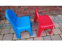 Two Sizzlin Cool plastic childrens chairs red and blue