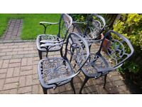 Garden chairs powder coated alloy sold as seen