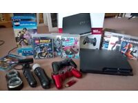 PLAYSTATION 3 WITH PS MOVE SET AND 19 GAMES- EXCELLENT CONDITION!