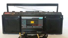Panasonic Stereo Radio Cassette Recorder RX-4910L Black Music Sound Boom Box