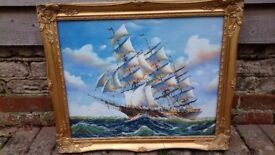 Old original signed seascape nautical boat painting, LARGE with gold effect frame