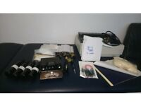 TATTOO KIT PLUS STENCIL DESIGN PRINTER 4 ROTARY MACHINES LED POWER SUPPLY UK IDEAL FOR BEGINNER