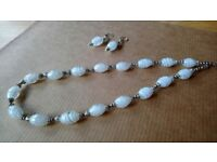 WHITE & SILVER MARBLED GLASS NECKLACE & EARRINGS HANDMADE JEWELLERY SET