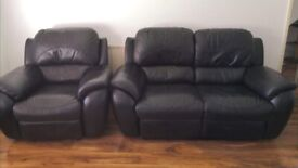 Leather recliner sofa two seater plus armchair