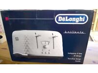 BNIB De'Longhi Brillante Faceted 4 Slice Toaster – White