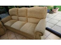 FREE 3 seater and recliner gold/beige material sofa
