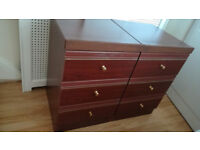 2x Bedside table 3 drawers 44.5x46x70
