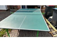sven playback used green foldable table tennis table with net and two rackets