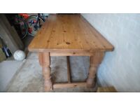 Large Pine Farmhouse Table - sturdy table size 200cm x 90 cm