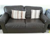Faux leather brown living room suite: 2 seater settee & armchair