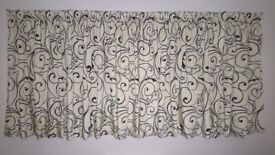High quality fully lined curtains with tie backs - cream with black detail