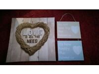 Two love pictures a canvas and wood love is all you need