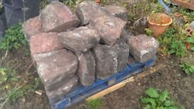 wall copes, coping, stone, red sandstone, half round