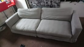 10ft fcuk grey settee with foot pouffes