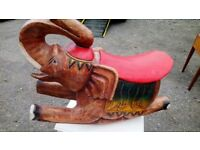 SOLID WOOD ROCKING ELEPHANT V GOOD CONDITION H 45 CM