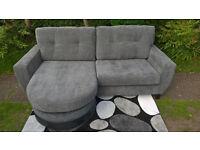 Ex-display Hepburn 3 Seater Grey Fabric Material Lounger Sofa.