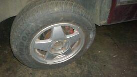 "Ford Alloys Escort Fiesta Sierra 13"" with decent tyres"