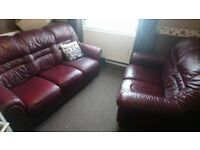 red leather sette 3+2 seaters