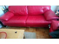 Vguc red leather sofa and chair