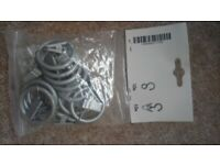 Silver colour 'clip' style curtain rings