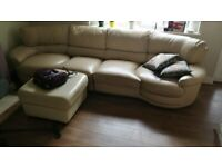 4 seater cream leather sofa with swivel seats