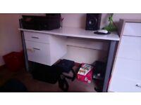 White gloss two drawer desk