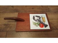 Vintage 1960s/1970s Wood and Tile Cheeseboard