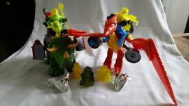 Fisher Price Imaginext Triceratops and Pteradactyl dinosaurs with figures